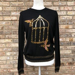 H & M black gold sequin bird/birdcage sweater, S